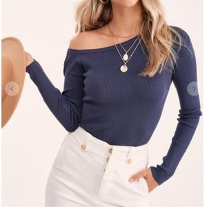 Muted blue off the shoulder top